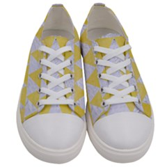 Triangle2 White Marble & Yellow Watercolor Women s Low Top Canvas Sneakers