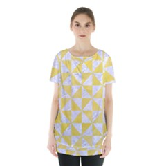 Triangle1 White Marble & Yellow Watercolor Skirt Hem Sports Top by trendistuff