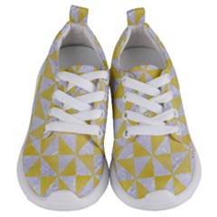 Triangle1 White Marble & Yellow Watercolor Kids  Lightweight Sports Shoes