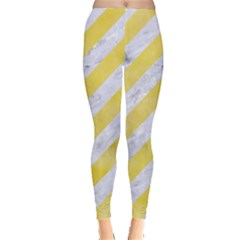 Stripes3 White Marble & Yellow Watercolor (r) Leggings  by trendistuff