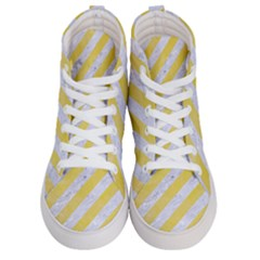 Stripes3 White Marble & Yellow Watercolor (r) Men s Hi Top Skate Sneakers