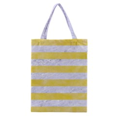 Stripes2white Marble & Yellow Watercolor Classic Tote Bag by trendistuff