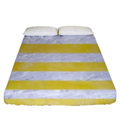 Stripes2white Marble & Yellow Watercolor Fitted Sheet (queen Size) by trendistuff