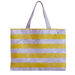Stripes2white Marble & Yellow Watercolor Zipper Mini Tote Bag by trendistuff