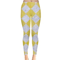 Square2 White Marble & Yellow Watercolor Leggings  by trendistuff