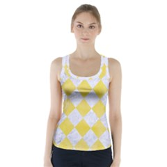 Square2 White Marble & Yellow Watercolor Racer Back Sports Top