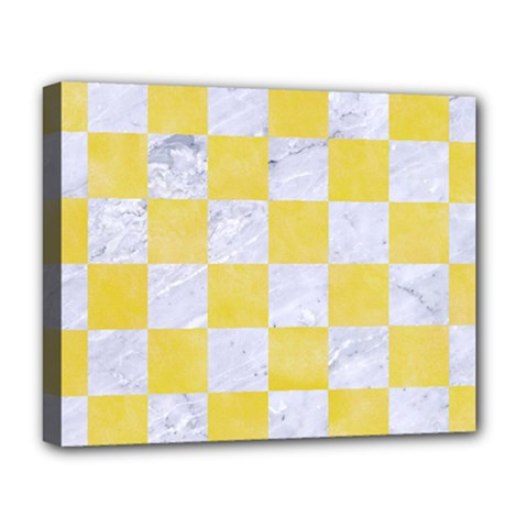 Square1 White Marble & Yellow Watercolor Deluxe Canvas 20  X 16   by trendistuff