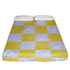Square1 White Marble & Yellow Watercolor Fitted Sheet (queen Size) by trendistuff