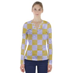 Square1 White Marble & Yellow Watercolor V Neck Long Sleeve Top