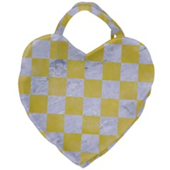 Square1 White Marble & Yellow Watercolor Giant Heart Shaped Tote by trendistuff