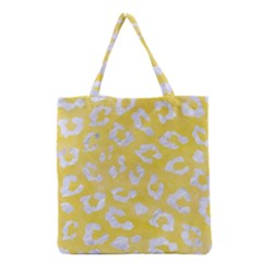 Skin5 White Marble & Yellow Watercolor (r) Grocery Tote Bag by trendistuff