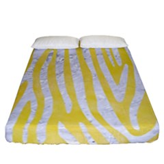 Skin4 White Marble & Yellow Watercolor (r) Fitted Sheet (california King Size) by trendistuff