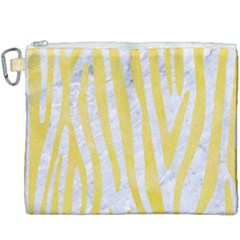 Skin4 White Marble & Yellow Watercolor Canvas Cosmetic Bag (xxxl) by trendistuff