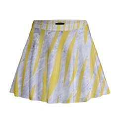 Skin3 White Marble & Yellow Watercolor (r) Mini Flare Skirt
