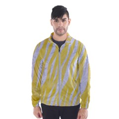 Skin3 White Marble & Yellow Watercolor Wind Breaker (men)