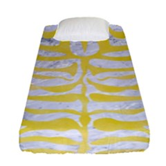 Skin2 White Marble & Yellow Watercolor (r) Fitted Sheet (single Size) by trendistuff