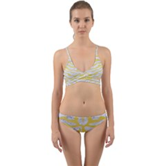 Skin2 White Marble & Yellow Watercolor (r) Wrap Around Bikini Set