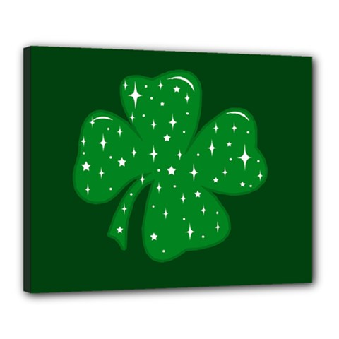 Sparkly Clover Canvas 20  X 16  by Valentinaart