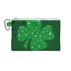 Sparkly Clover Canvas Cosmetic Bag (medium) by Valentinaart