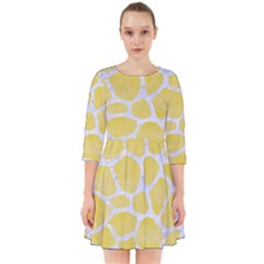 Skin1 White Marble & Yellow Watercolor (r) Smock Dress