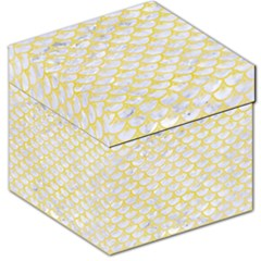 Scales3 White Marble & Yellow Watercolor (r) Storage Stool 12   by trendistuff