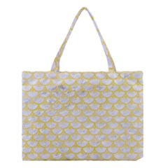 Scales3 White Marble & Yellow Watercolor (r) Medium Tote Bag by trendistuff