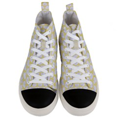 Scales3 White Marble & Yellow Watercolor (r) Men s Mid Top Canvas Sneakers