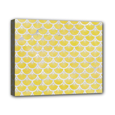 Scales3 White Marble & Yellow Watercolor Canvas 10  X 8  by trendistuff