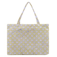 Scales2 White Marble & Yellow Watercolor (r)scales2 White Marble & Yellow Watercolor (r) Zipper Medium Tote Bag