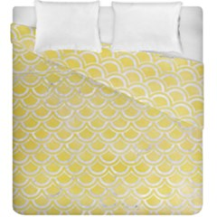 Scales2 White Marble & Yellow Watercolor Duvet Cover Double Side (king Size) by trendistuff
