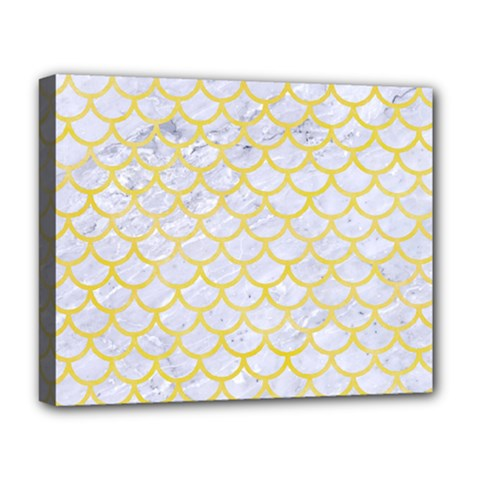 Scales1 White Marble & Yellow Watercolor (r) Deluxe Canvas 20  X 16   by trendistuff