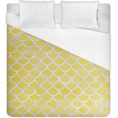 Scales1 White Marble & Yellow Watercolor Duvet Cover (king Size) by trendistuff