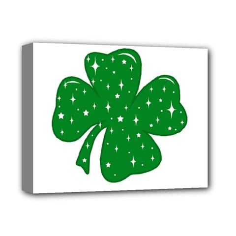 Sparkly Clover Deluxe Canvas 14  X 11  by Valentinaart