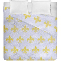 Royal1 White Marble & Yellow Watercolor Duvet Cover Double Side (king Size) by trendistuff