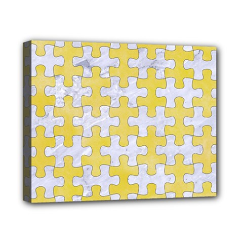 Puzzle1 White Marble & Yellow Watercolor Canvas 10  X 8  by trendistuff