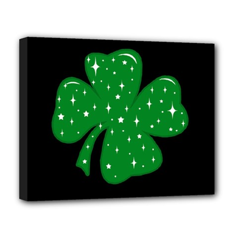 Sparkly Clover Deluxe Canvas 20  X 16   by Valentinaart