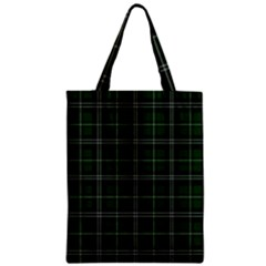 Green Plaid Pattern Zipper Classic Tote Bag by Valentinaart