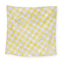 Houndstooth2 White Marble & Yellow Watercolor Square Tapestry (large) by trendistuff
