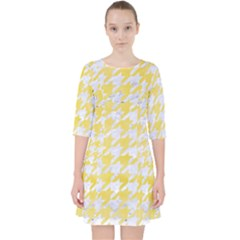Houndstooth1 White Marble & Yellow Watercolor Pocket Dress