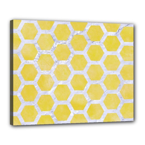 Hexagon2 White Marble & Yellow Watercolor Canvas 20  X 16  by trendistuff