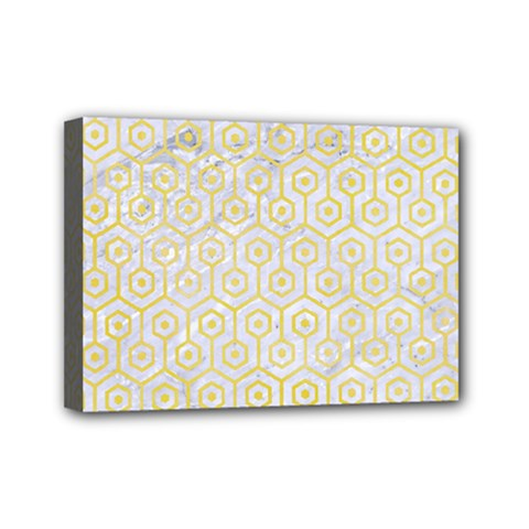 Hexagon1 White Marble & Yellow Watercolor (r) Mini Canvas 7  X 5