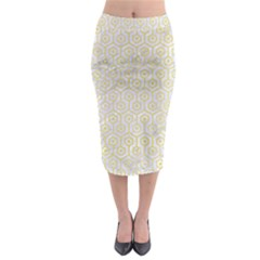 Hexagon1 White Marble & Yellow Watercolor (r) Midi Pencil Skirt