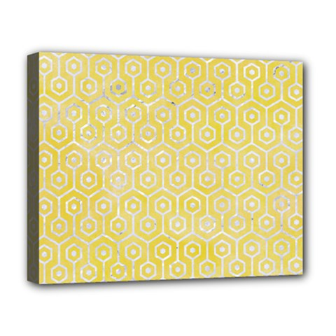Hexagon1 White Marble & Yellow Watercolor Deluxe Canvas 20  X 16   by trendistuff