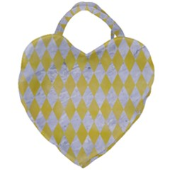 Diamond1 White Marble & Yellow Watercolor Giant Heart Shaped Tote by trendistuff
