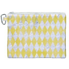 Diamond1 White Marble & Yellow Watercolor Canvas Cosmetic Bag (xxl)
