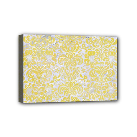 Damask2 White Marble & Yellow Watercolor (r) Mini Canvas 6  X 4