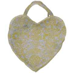 Damask2 White Marble & Yellow Watercolor (r) Giant Heart Shaped Tote by trendistuff
