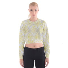 Damask1 White Marble & Yellow Watercolor (r) Cropped Sweatshirt
