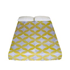 Circles3 White Marble & Yellow Watercolor (r) Fitted Sheet (full/ Double Size) by trendistuff