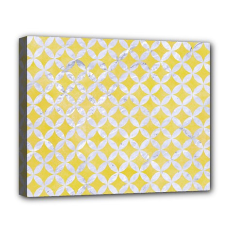 Circles3 White Marble & Yellow Watercolor Deluxe Canvas 20  X 16   by trendistuff